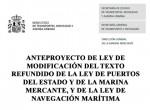 """Audiencia e información pública """"Anteproyecto de ley de reforma del Texto Refundido de la Ley de Puertos del Estado y de la Marina Mercante y de la Ley de Navegación Marítima"""""""